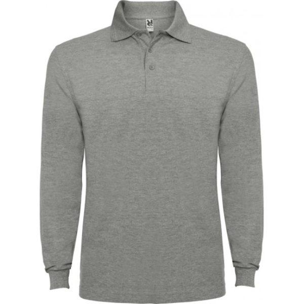 Tricou Polo gri maneca lunga barbati ESTRELLA – Roly 6635