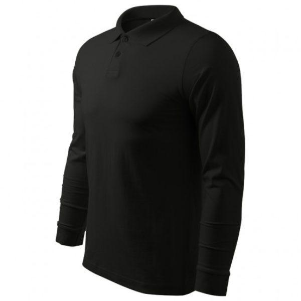 Tricou Polo negru barbati cu maneca lunga bumbac  211