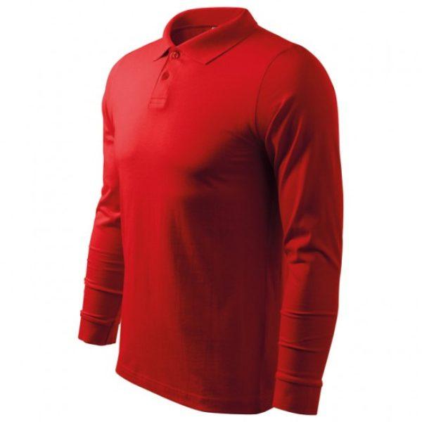 Tricou Polo rosu barbati cu maneca lunga bumbac  211